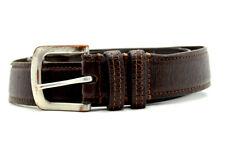 """Vintage Handmade Mens Real Leather Belt Brown Size M (34"""")"""