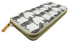 Women's White Purse / Wallet With Black Zebra Print Animal Gold Coloured Zip