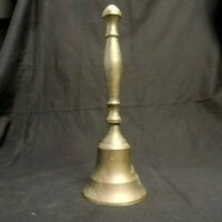 "VINTAGE BRASS HAND BELL W/GOOD PATINA 8.5"" TALL X 3"" WIDE MARKED MADE IN INDIA"