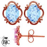 BJC® 9ct Rose Gold Natural Blue Topaz Single Stud Earrings Studs 1.50ct
