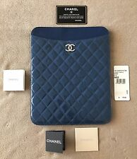 CHANEL TABLET CASE QUILTED BLUE PATENT LEATHER with CC Logo NWT $775