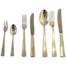 42 versilb. Besteckteile/Cutlery + 10 Vorleger WMF 3400 ART DECO für 6 Personen