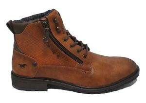 Mustang Jeans Mens Tan Brown Zip Lace Up Military Army Combat Ankle Boots
