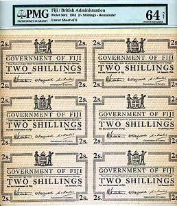 FIJI, 6 x 2 shillings 1942, Uncut sheet, Pick 50r2, WWII, PMG-64 Choice UNC