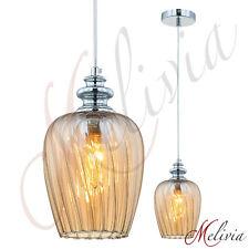Hängelampe Pendelleuchte Glas Bernstein Pendellampe Deckenlampe Leuchte Chrom 14