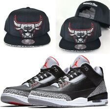 Matching Mitchell & Ness NBA Chicago Bulls Snapback Hat Jordan 3 Black Cement