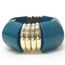 Glamorous Acrylic Teal Link Yellow Gold Plated Fashion Stretch Bracelet
