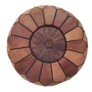 Authentic MOROCCAN, POUF Leather, Ottoman Pouf, Genuine leather Pouffe footstool