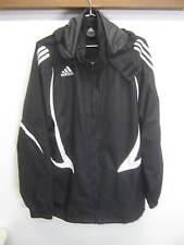 vtg Adidas Warm-up Jacket Windbreaker black hooded ripstop nylon mesh lined XL