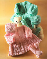 Knitting Pattern - Aran Style Baby Crew/V Neck Matinee Coat Bonnet & Socks DK