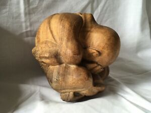 """JAPANESE WOODEN CARVED BALL, MAN WITH HEAD IN HANDS. NETSUKE STYLE. Approx 6"""""""