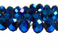 75 TSCHECHISCHE KRISTALL GLASPERLEN FACETTIERT 6mm Fire-Polished Blau DIY X63#3