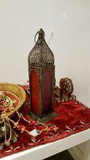 Moroccan Lantern Lamp Multi Coloured Glass 35cm Indian Wedding Rustic New Diwali