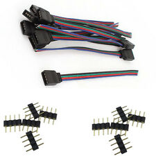 4 Pin Male Connectors + Female Wire Cables for 3528 5050 RGB LED Strip Lights
