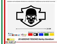 2 adesivi per moto harley davidson serbatoio stikers personalizzati logo teschio