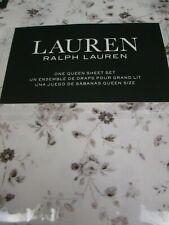 Ralph Lauren Cotton 4pc White Brown Taupe Floral Sheet Set - Queen