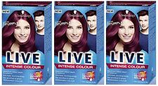 X 3 Schwarzkopf Live Colour XXL Unlimited Gloss 86 Pure Purple