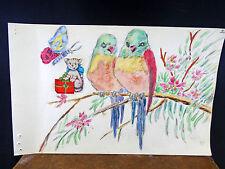 Lovely Watercolor Painting Birds Parrot Love Birds   1940's Original