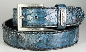 1016 Sendra Pythongürtel Python Barr. Fantasia Azul Blau Ledergürtel Wechselgürt