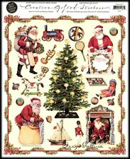 Vintage Gifted Line Victorian Christmas Holidays Jolly Santa Faces Stickers Lot