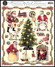 Vintage Gifted Line Victorian Santa & Toys Christmas John Grossman Stickers 8x10