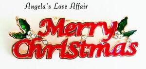 CHRISTMASY 4.9cm ENAMEL CRYSTAL XMAS  MERRY CHRISTMAS HOLLY LEAVES BROOCH PIN
