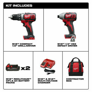 Milwaukee M18 Li-Ion Compact Cordless Drill Driver/Impact Driver Combo 2691-22