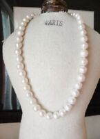 """18"""" AAA 11-10 MM SOUTH SEA NATURAL White PEARL NECKLACE 14K GOLD CLASP"""