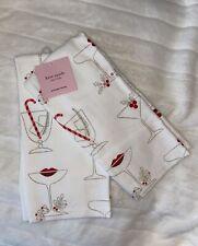 Kate Spade Holiday Kitchen Towels 2PC Set Champagne Martini Lips