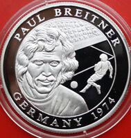 "Liberia: 10 Dollars 2001 Silber, Proof-PP, ""Paul Breitner"",  #F 1000"