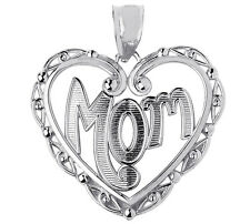 Mothers Day Gifts Sterling Silver Mom Charm Pendant with Fancy Open Heart Design