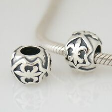 FLEUR-DE-LYS/LIS-Scouts-French Lily flower- Solid 925 sterling silver charm bead