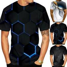 Men's 3D Printed T-Shirts Summer Casual Short Sleeve Tops Basic Tee Plus Size AU