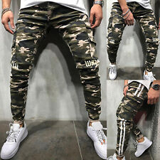 Mens Military Combat Joggers Trousers Camouflage Slim Fit Cargo Camo Work Pants