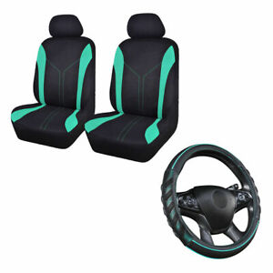 2 Car Seat Covers Mesh Universal Front & Mint Green Steering Wheel Cover Leather
