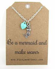 """SIRENA Heart """"essere una sirena & Make Waves"""" messaggio CARD COLLANA NUOVI Regali Ragazze"""