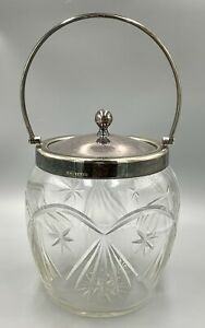 Gorgeous Deep Cut Crystal Glass Biscuit Jar with Silver  K*S EPNS Collar/Lid