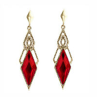 Vintage Style Gold & Deep Red Long Drop Stud Earrings E951