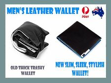 Mens leather wallet black minimalist genuine slim cardholder men's money male