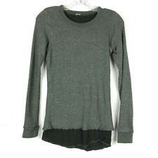 Monrow Shirt Double Layer Thermal womens Waffle Knit Green size XS Long Sleeve