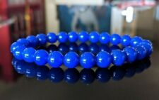 "Deep Blue Jade Bead Bracelet for Men (Stretch) 8mm - 8"" inch AAA Quality"