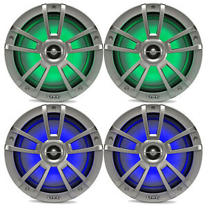 "4X Infinity Reference 8"" Coaxial 450 Watts Marine Titanium Speakers with RGB LED"