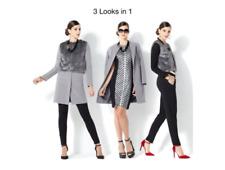 $130 IMAN Platinum Luxe City Coat with Couture Faux Fur Vest Gray Size: Medium