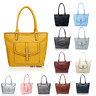 New Women Large Roomy Zip Tote Shopper Handbag Shoulder Bag With Outer Pockets