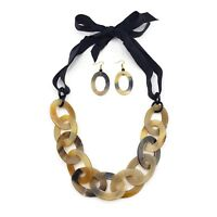 Fashion Buffalo Horn Necklace Chunky Chain Genuine Horn Natural Jewelry Earring