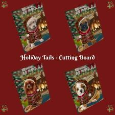 Christmas Stocking Hung Dog Cat Pet Tempered Glass Cutting Board Small 12x8 In