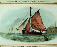 1870's-80's Lovely Nautical Sailing Scene Victorian Christmas Trade Card *B