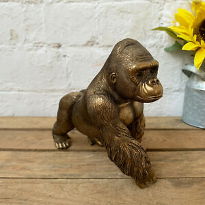 Vintage Bronze Resin Silverback Gorilla Monkey Ape Sculpture Statue Ornament Art