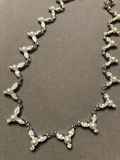 Swarovski Crystal & Glass Pearl V Link Wedding Necklace