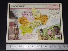 CHROMO 1920-1930 LION NOIR MIDI OUEST DU RHONE FRANCE VINS VERRERIE LANGUEDOC